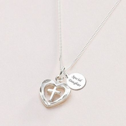 Silver Cross in Heart Necklace with Engraving
